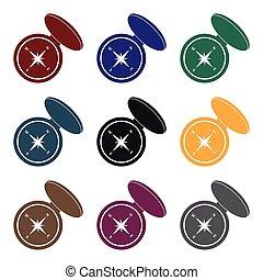 stijl, illustration., jacht, compas, symbool, vrijstaand, achtergrond., vector, black , witte , pictogram, liggen