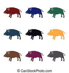 stijl, illustration., jacht, symbool, vrijstaand, achtergrond., vector, black , beer, witte , pictogram, liggen