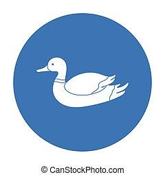 stijl, illustration., jacht, symbool, vrijstaand, achtergrond., vector, black , eend, witte , pictogram, liggen