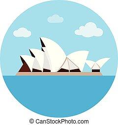 stijl, illustration., landen, opera huis, symbool, vrijstaand, achtergrond., vector, sydney, witte , pictogram, spotprent, liggen