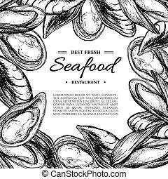 stijl, illustration., ouderwetse , seafood, hand, vector, getrokken, mossel, ingelijst, gegraveerde, template., oester