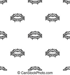 stijl, illustration., pictogram, symbool, vrijstaand, achtergrond., vector, black , hippodrome, paddock, wit paard, liggen