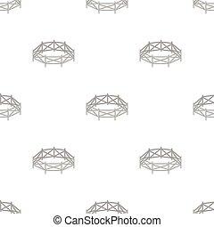 stijl, illustration., pictogram, symbool, vrijstaand, achtergrond., vector, hippodrome, paddock, wit paard, spotprent, liggen