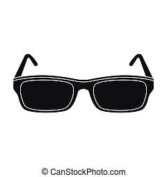 stijl, illustration., pictogram, symbool, vrijstaand, bibliotheek, achtergrond., vector, black , boekhandel, bril, witte , liggen