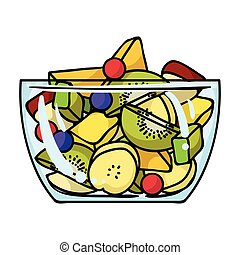 stijl, illustration., slaatje, symbool, vrijstaand, fruit, achtergrond., vector, fitness, pictogram, witte , sportende, spotprent, liggen