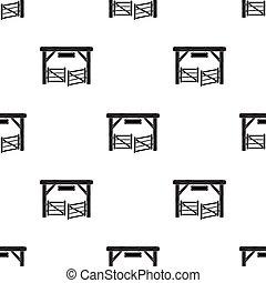 stijl, illustration., symbool, vrijstaand, achtergrond., rodeo, vector, black , paddock, poort, witte , pictogram, liggen