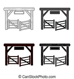 stijl, illustration., symbool, vrijstaand, achtergrond., rodeo, vector, paddock, poort, witte , pictogram, spotprent, liggen