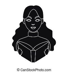 stijl, illustration., symbool, vrijstaand, bibliotheek, achtergrond., vector, black , bibliothecaris, boekhandel, pictogram, witte , liggen