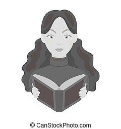 stijl, illustration., symbool, vrijstaand, bibliotheek, achtergrond., vector, monochroom, bibliothecaris, boekhandel, pictogram, witte , liggen