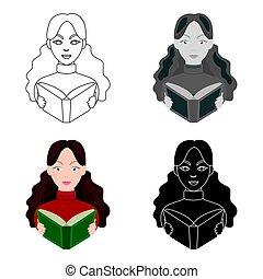 stijl, illustration., symbool, vrijstaand, bibliotheek, spotprent, achtergrond., vector, bibliothecaris, boekhandel, pictogram, witte , liggen