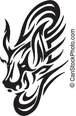 stijl, image., van een stam, -, vector, stier