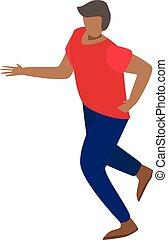 stijl, isometric, rennende , pictogram, imigrant, man