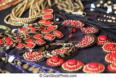 stijl, juwelen, ouderwetse , meiden, rood, vrouwen