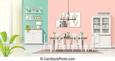 stijl, kamer, kleurrijke, moderne, rustiek, het dineren, achtergrond, interieur