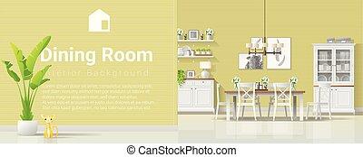 stijl, kamer, moderne, rustiek, het dineren, 5, achtergrond, interieur