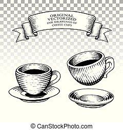 stijl, koffie, scratchboard, werkjes, inkt, koppen