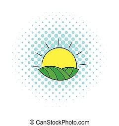 stijl, komieken, velden, op, frankrijk, zon, pictogram