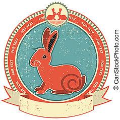 stijl, konijn, etiket, papier, oud, texture., ouderwetse