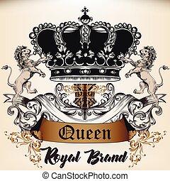 stijl, koningin, logotype, antieke , ornament., kroon, ...