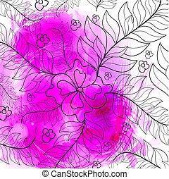stijl, krans, watercolor, achtergrond, witte bloemen