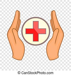 stijl, kruis, holdingshanden, pictogram, spotprent