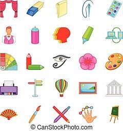 stijl, kunst, iconen, set, workshop, spotprent