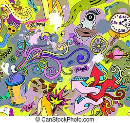 stijl, kunst, muur, model, seamless, textuur, achtergrond., graffiti, heup-hop