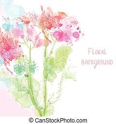 stijl, lente, -, watercolor, floral, achtergrond, teder