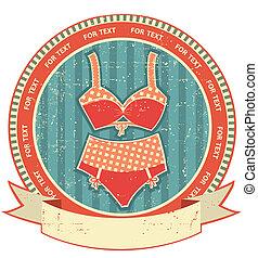 stijl, lingerie, retro, papier, etiket, oud, texture., ouderwetse