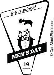 stijl, mannen, eenvoudig, globaal, pictogram, dag