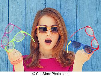 stijl, meisje, met, bril