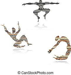 stijl, mens, silhouette, ethnische , dancing