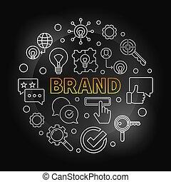 stijl, merk, illustratie, ronde, vector, dune lijn, zilver