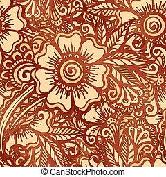 stijl, model, seamless, hand-drawn, indiër, mehndi, floral