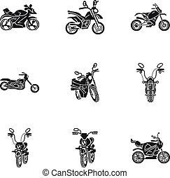 stijl, motorfiets, set, eenvoudig, het snelen, pictogram