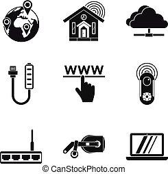 stijl, netwerk, iconen, set, eenvoudig, thuis