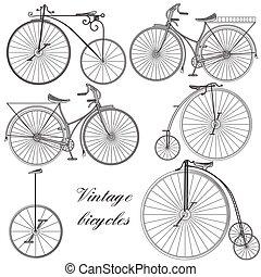 stijl, of, bicycles, set, verzameling, vector, ouderwetse , hand, getrokken