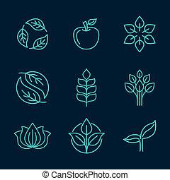 stijl, organisch, schets, iconen