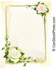 stijl, oud, frame, watercolor, roses., imitatie, schilderij
