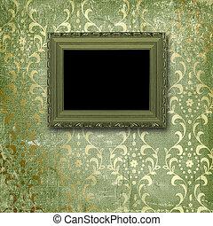 stijl, oud, kamer, gouden muur, victoriaans, lijstjes