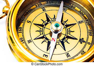 stijl, oud, messing kompas