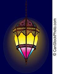 stijl, oud, ramadan, arabische , lamp