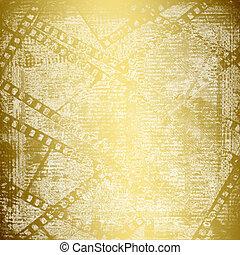 stijl, oud, scrapbooking, goud, abstract, achtergrond, ...