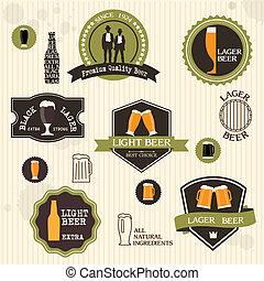 stijl, ouderwetse , etiketten, bier, ontwerp, kentekens