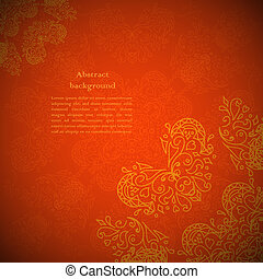 stijl, ouderwetse , ornament, indiër, beige achtergrond, ...