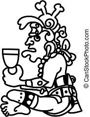 stijl, persoon, aztec, glyph