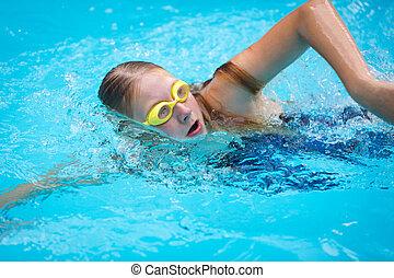 stijl, pet, jonge, slag, goggles, meisje, kruipen, zwemmen