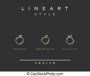 stijl, pictogram, appel, lijn, art.