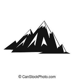 stijl, pictogram, canadees, eenvoudig, bergen
