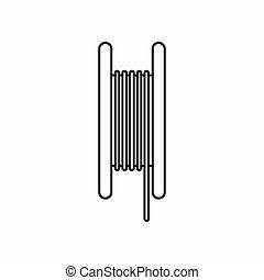 stijl, pictogram, elektrisch, schets, kabel